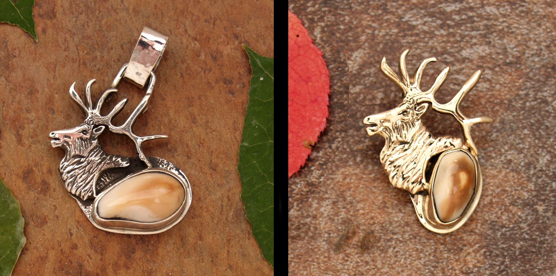 Small Elk Head Silver & Gold
